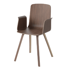 PALM VENEER DINING CHAIR WITH ARMREST - OILED WALNUT