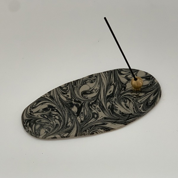 Marbled Incense Holder Oval - Taupe 15