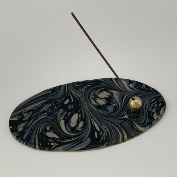 Marbled Incense Holder Oval - Taupe 14