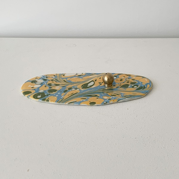 Marbled Incense Holder - SKYBLUE/YELLOW/GREEN
